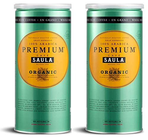 Café Saula grano, Pack 2 botes de 500 gr. Premium Ecológico 100 ...
