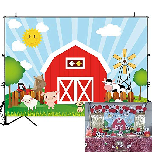 Allenjoy 7x5ft Cartoon Farm Animals Background Barn Door Backdrop for Kids Photography Barnyard Theme Birthday Party Supplies Cake Table Banner Photo Booth Props