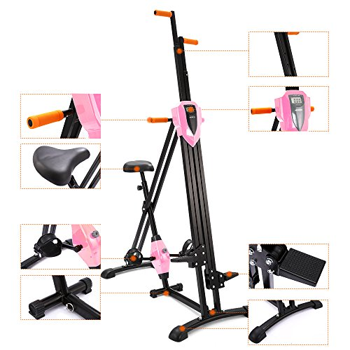 ANCHEER Vertical Climber Folding Exercise Climbing Machine, Exercise Equipment Climber for Home Gym, Exercise Bike for Home Body Trainer (Pink) by ANCHEER (Image #6)