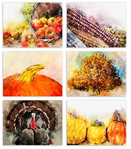 Watercolor Autumn Blank Note Cards - Blank Greeting Cards - 6 Fall Designs - Includes Card and Envelopes - 5.5