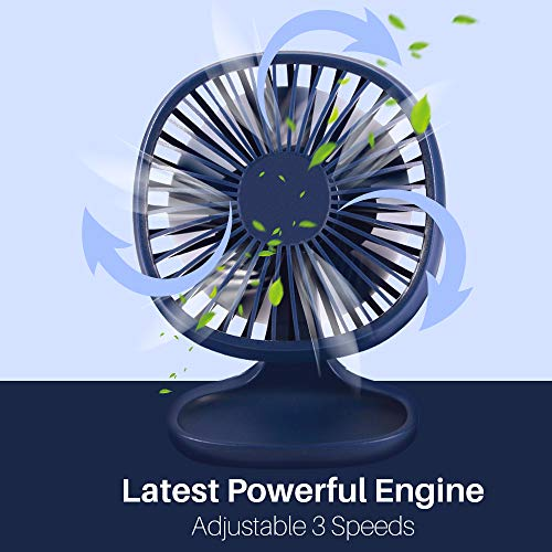 (TekHome Mini USB Desk Fan 4 Inch, Personal Fan Electric, Navy Blue Powerful Silent Fan 120mm Plug in for Office Table, 3 Speeds, USB Powered, 90°Up&Down, 3 Feet Cable, Best 2019 Gifts for Men. )