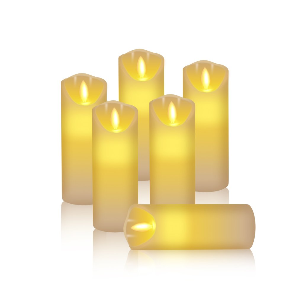 フレイムレスキャンドルアイボリーちらつきElectric LEDキャンドルwith Amber Yellow Flame電池式キャンドルのセット6 (D : 1.6 CM x H : 4