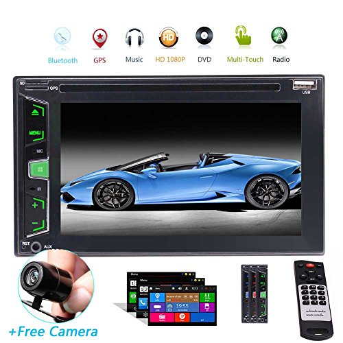 Backup Camera + GPS Double Din Car Stereo Radio DVD MP3 Player Handsfree Bluetooth with Map Card in Dash Universal 2 Din Car Video Audio Player USB SD Aux Car Logo with Special Win 8 UIs