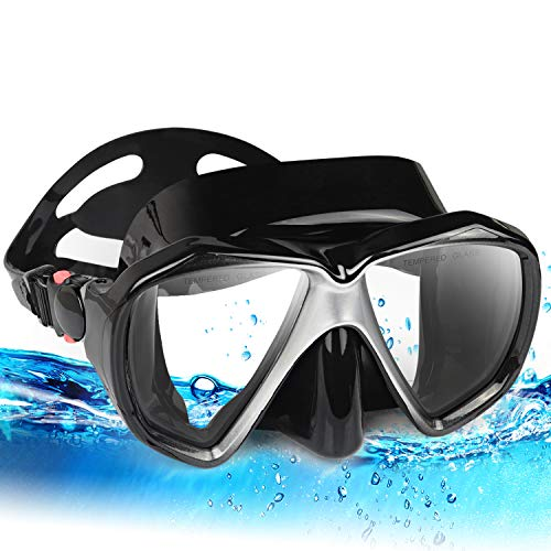 Snorkel Diving Mask Set, Panoramic HD Scuba Swim Mask, Tempered Anti-Fog Lens Glasses Snorkel Goggles, Scuba Dive Snorkel Mask with Silicone Skirt Strap for Dry Snorkeling, Swimming (Black) ()