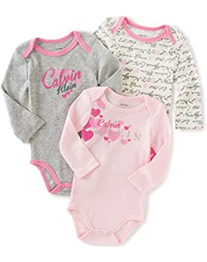 Baby Girls' Assorted Long Sleeve Bodysuit (Pack of 3)