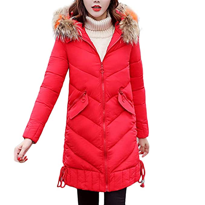 d00048cab23 FNKDOR Womens Ladies Quilted Padded Puffer Bubble Fur Collar Parka Thicken  Warm Slim Plus Size Hooded Jacket Coat Overcoat UK 14-24  Amazon.co.uk   Clothing