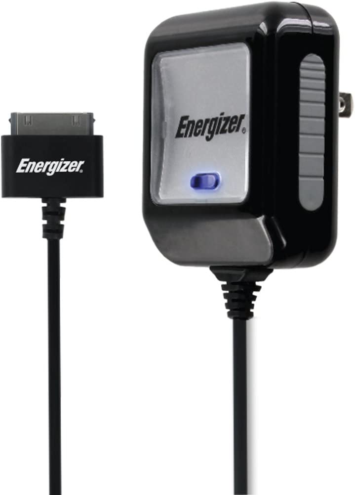 Premier Accessory Group Energizer Apple 30 pin Home Wall Charger Power Adapter MFi Fast Charging 5ft Charge Power Cord Cable for iPhone 4s,iPod Touch 3/4, iPad 2/3, 5 Feet 2.1amp Output