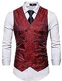 Cyparissus Mens Business Suit Vest Waistcoat Men's Dress Vest or Tuxedo Vest (XL, Red)