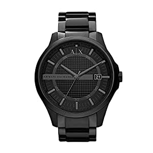 Armani Exchange Men's Hampton Analog Quartz/3 Hand Black Watch, (AX2104)