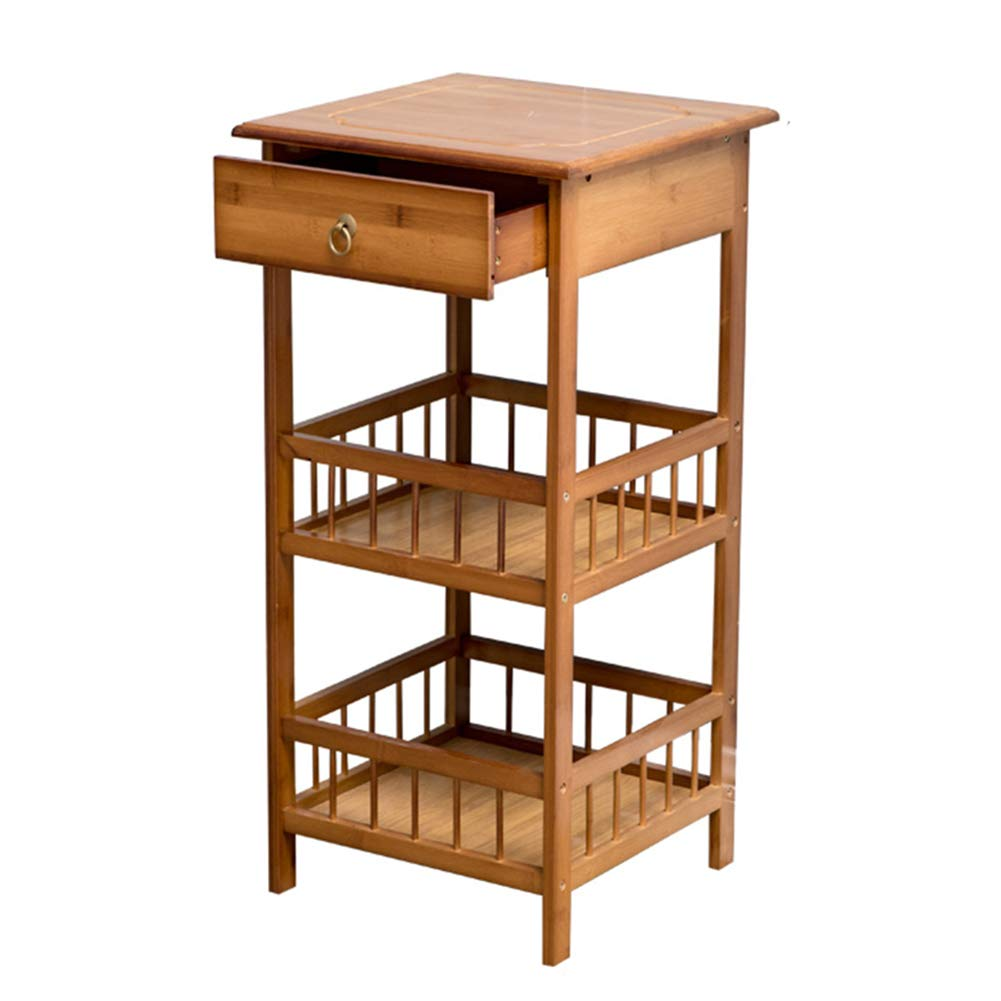 Brown with drawer-L 3 layers Bedside Tables Nightstand Cabinet Bedside Cabinet Table Stackable Side Table Coffee Table Wooden Cabinet Bedroom Simple Modern Mini Storage Bamboo GAOFENG (color   Brown, Size   2 Layers)