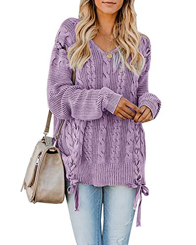 - Hestenve Womens Sweaters Oversized Cable Knit V Neck Long Sleeve Chunky Pullover Sweater Tunic Tops Purple