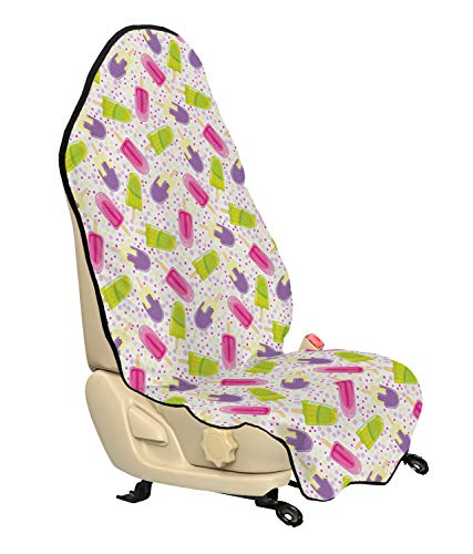(Ambesonne Ice Cream Car Seat Cover, Popsicles in Cartoon Style Scattered on Polka Dot Background Yummy Fresh Frosting, Car and Truck Seat Cover Protector with Nonslip Backing Universal Fit, Multicolor)