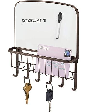 mDesign Organizador de llaves – Portallaves de pared con bandeja para correspondencia y pizzara para escribir