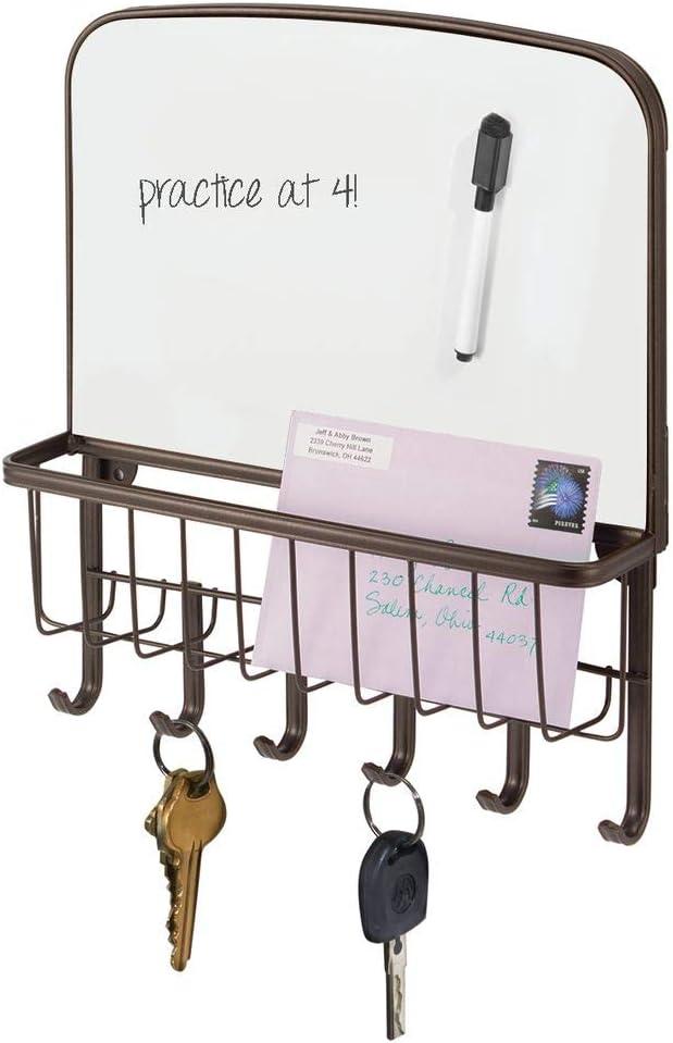 mDesign Organizador de llaves – Portallaves de pared con bandeja para correspondencia y pizzara para escribir – Organizador de cartas para recibidor, cocina, etc. – bronce