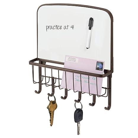 mDesign Organizador de llaves – Portallaves de pared con bandeja para correspondencia y pizzara para escribir – Organizador de cartas para recibidor, ...