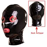 hood with eye and mouth holes - EXLATEX Rubber Latex Hood Mask with Contrast Colour Around Eyes and Mouth Opening with Zipper Open with Nostril (Large, Black)