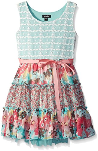 ZUNIE Little Girls Lace To Chiffon Mixed Print Dress, Aqua Multi, 4