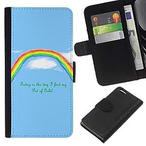 LECELL--Cuero de la tarjeta la carpeta del tirón Smartphone Slots Protección Holder For Apple Iphone 5C -- Rainbow Pot Of Gold motivación --