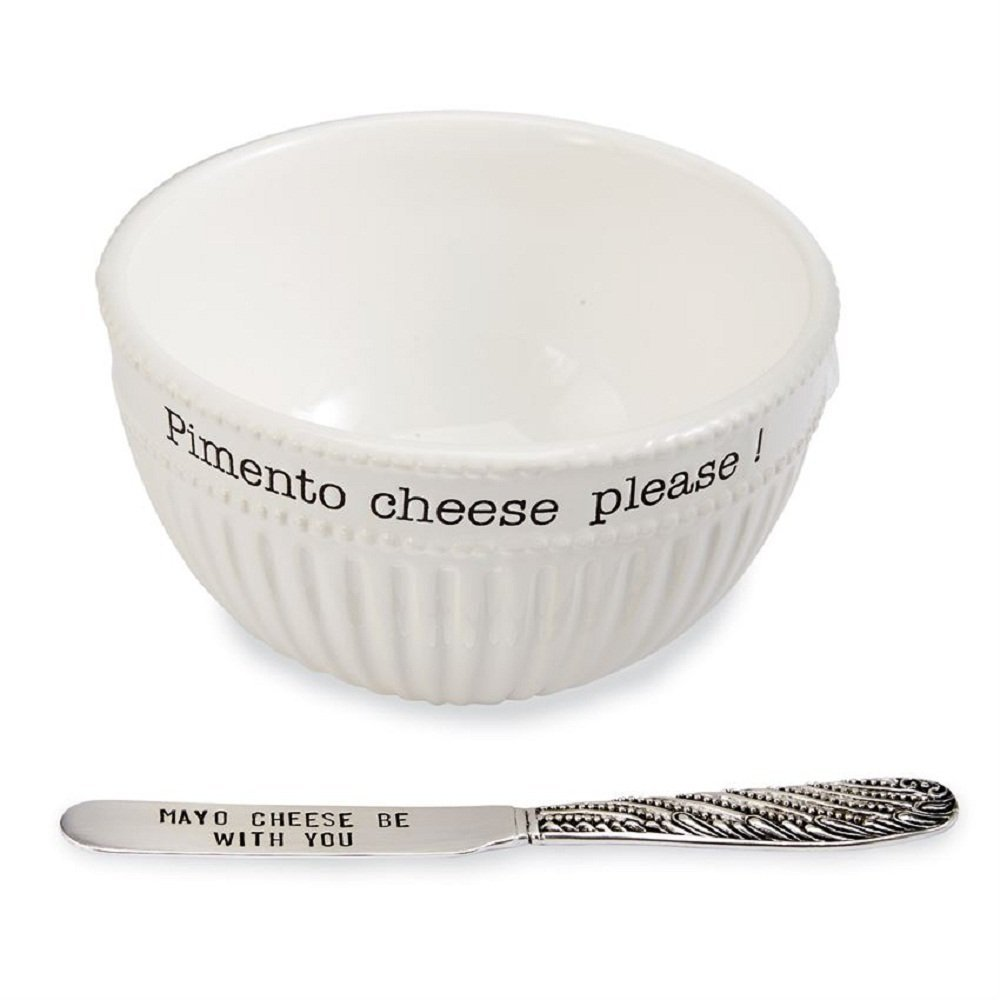 Mud Pie Pimento Cheese Fluted Ceramic Dip Bowl Serving Set of 2