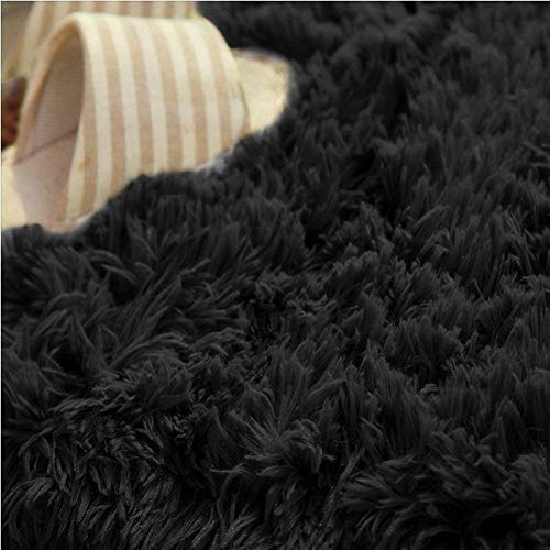 SANMU Soft Round Rug,Fluffy Silky Carpet Fashion Color Smooth Bedroom Mats Round Shag Floor Pad for Girls Bedroom Decorate and Indoor Use,4 Feet,Black by Softlife (Image #5)