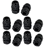uxcell 10pcs G3/8 Nylon 2 Hole Adjustable Cable Gland Connector Joint Black G 3/8-H2-04
