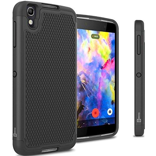 Blackberry DTEK50 Case, CoverON [HexaGuard Series] Slim Hybrid Hard Phone Cover Case for Blackberry DTEK50 - Black