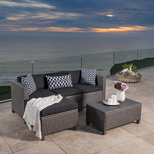 Outdoor Patio Furniture 5-pce Wicker L-Shaped Sectional Sofa Set Black Cushions (Table Garden Pallet Furniture)