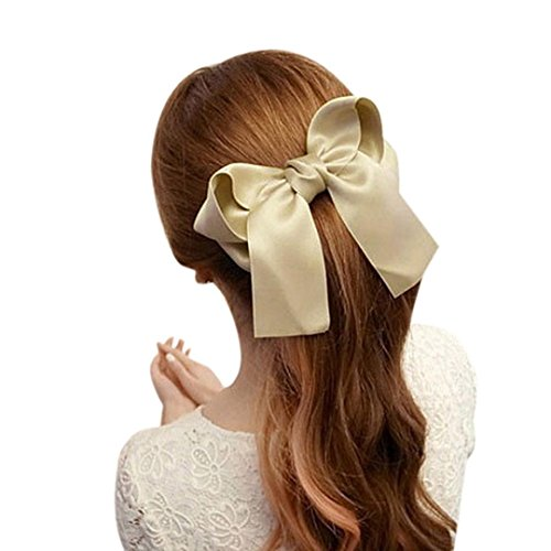 Coromose Women Girls Cute Large Big Satin Hair Hair Clip Boutique Ribbon Bow (Khaki)