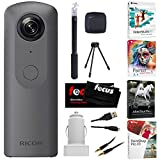 Photo : Ricoh Theta V 360-Degree Spherical 4K HD Digital Camera with Ricoh Selfie Stick, Video Editing Software Bundle
