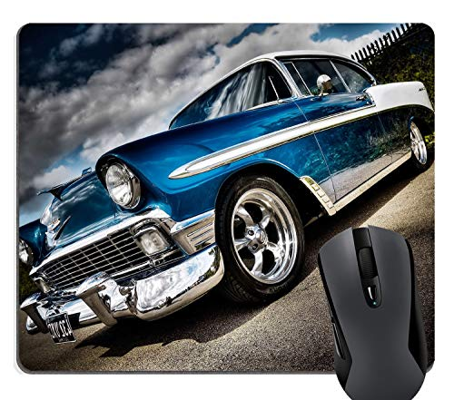 Wknoon Retro Classic Blue and White Car Rectangle Non-Slip Rubber Mouse Pad Gaming Mat ()