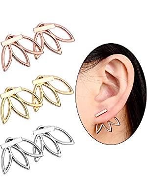 Hestya 3 Pairs Ear Jacket Stud Lotus Flower Earrings for Women and Girls
