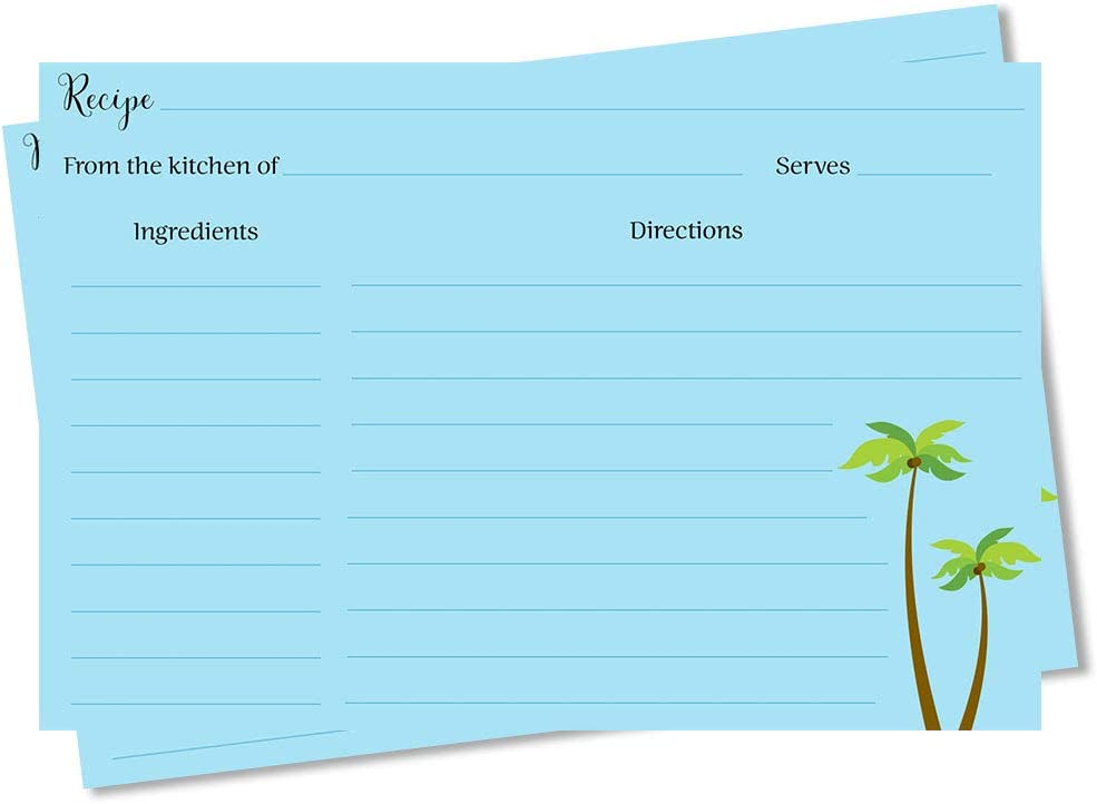 Recipe Cards Beach Bridal Shower Housewarming New Home Groom Bride Just Married Gift Idea Graduation Keepsake Palm Trees Tree Palms Green Tropical Tropics Recipes Exchange Swap Party (24 count)