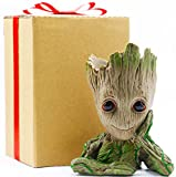 Baby Groot Flowerpot Kids Gift, Planter Pot Groot Gifts Toys Dolls Groot Pen Pot, Groot Pencil Holder for Desk, Grut Flower Pot Green Treeman Succulent Planter with Drainage Hole by Sgift