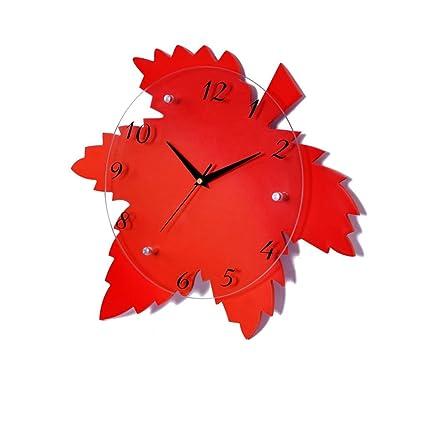 Ysayc Wall Clocks Maple Leaf Fashion Creative Clock Silent Mural Art Decoration