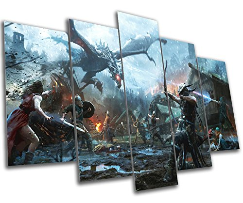 Elder Scrolls Vs SkyRim Gaming Canvas Print - 5 Panel Canvas - Multi Panel Wall Art - Framed Ready To Hang by Funky Canvas