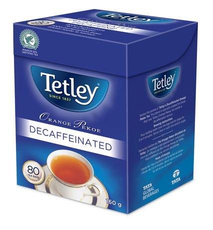 Tetley Tea Decaf (Tetley Orange Pekoe Decaffeinated Tea 80 Decaf Tea Bags 160g {Imported from Canada})