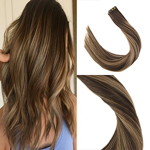 Sunny 40pcs 100g 18inch Tape in Colored Hair Extensions Chocolate Brown Fade to Honey Blonde Balayage Double Weft Tape in Hair Extensions Real Human (Advantage Caramel Double Chocolate)