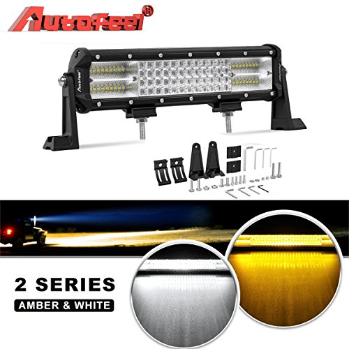 LED Light Bar, Autofeel 12 inch 210W 8D Quad Row Driving Lights Emergency Lights Fog Light Snow Lights Flashing Amber Light Spot Flood Combo Beam Light Bar Off Road Lights for Truck Jeep ATV UTV