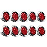 """Partsam 10Pcs Red 4"""" Inch Round LED Trailer Tail Lights 12LED Flange Mount Stainless Steel Chrome Bezel Waterproof Stop Turn Tail Brake Lights Replacement for Jeep Trucks RV 12V"""