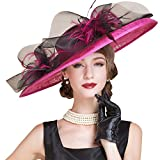 HomArt Women's Floral Church Christening Triple Crown Hats Wedding Party Hat