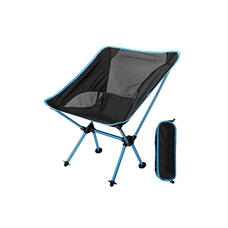 EXTSUD Ultraleichter Campingstuhl Anglerstuhl Klappstuhl kompakter tragbar Stuhl mit Tragetasche für Outdoor Aktivitäten…