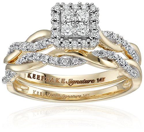 Keepsake Signature 14k Yellow Gold Diamond Twist Engagement Ring (1/3cttw, H-I Color, I1 Clarity), Size ()