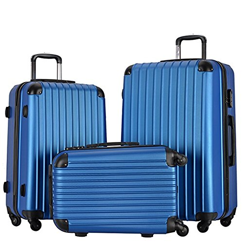 Lightweight Carry On Luggage Sets Spinner Wheeled Suitcase 3 Pieces ABS Hardside Trolley (Sky Blue) by Resena