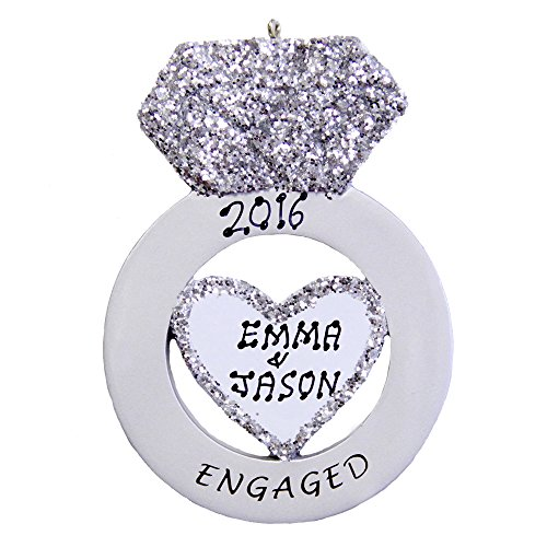 Personalized Engagement Christmas Ornaments (Personalized Engagement Ring Ornament)