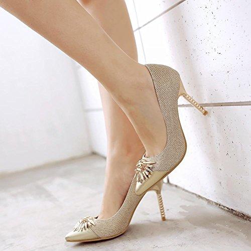 Mee Shoes Damen Stiletto Geschlossen Strass spitz Pumps Gold