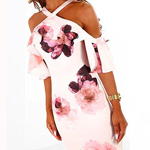 Robe Des Femmes D'été Fête Décontractée Rayez Épaule Floral Rose Chemise Courte Imprimée