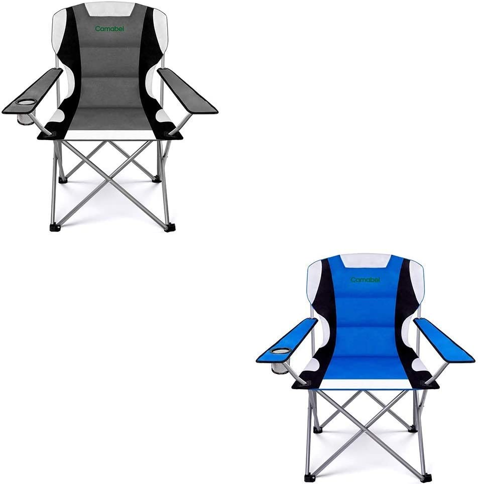 Camabel Folding Camping Chairs 400lbs Capacity Lawn Garden Padded Sports Chair Lightweight Portable Fold up Camp Chairs Bag Chairs for Heavy Duty Beach Hiking Fishing BBQ Spectator with Cup Holder