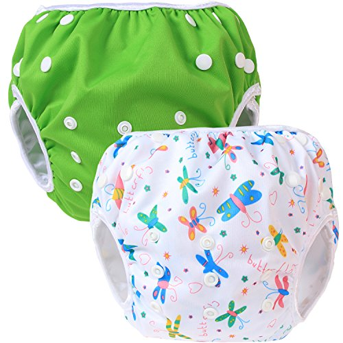 Teamoy Baby Swim Diaper(2 Pack) Newborn Cloth Diaper Cover(Green+ Butterflies White)