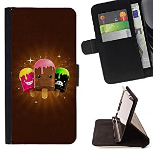 DEVIL CASE - FOR Sony Xperia Z1 L39 - Cute Icecream Friends - Style PU Leather Case Wallet Flip Stand Flap Closure Cover