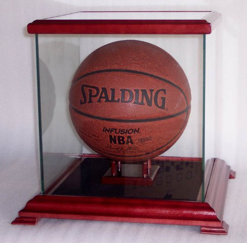 Glass Display Case for Basketball, Soccer Ball, Helmets and more, Cherry by sfDisplay